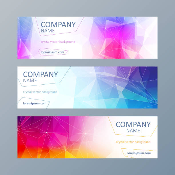Set of mosaic faceted banners templates. vector art illustration