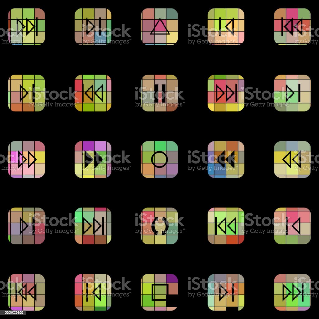 Set of mosaic textured Play buttons royalty-free set of mosaic textured play buttons stock vector art & more images of abstract