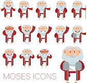 Vector image of the set of Moses icons