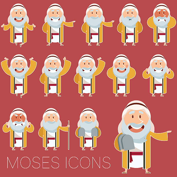 Set of Moses icons2 Vector image of the set of Moses icons moses religious figure stock illustrations
