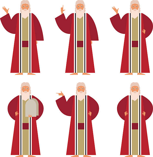 Set of Moses Vector image of the set of Moses moses religious figure stock illustrations