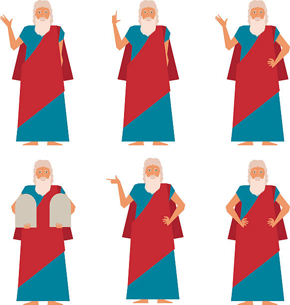 Set of Moses2 Vector image of the set of Moses moses religious figure stock illustrations