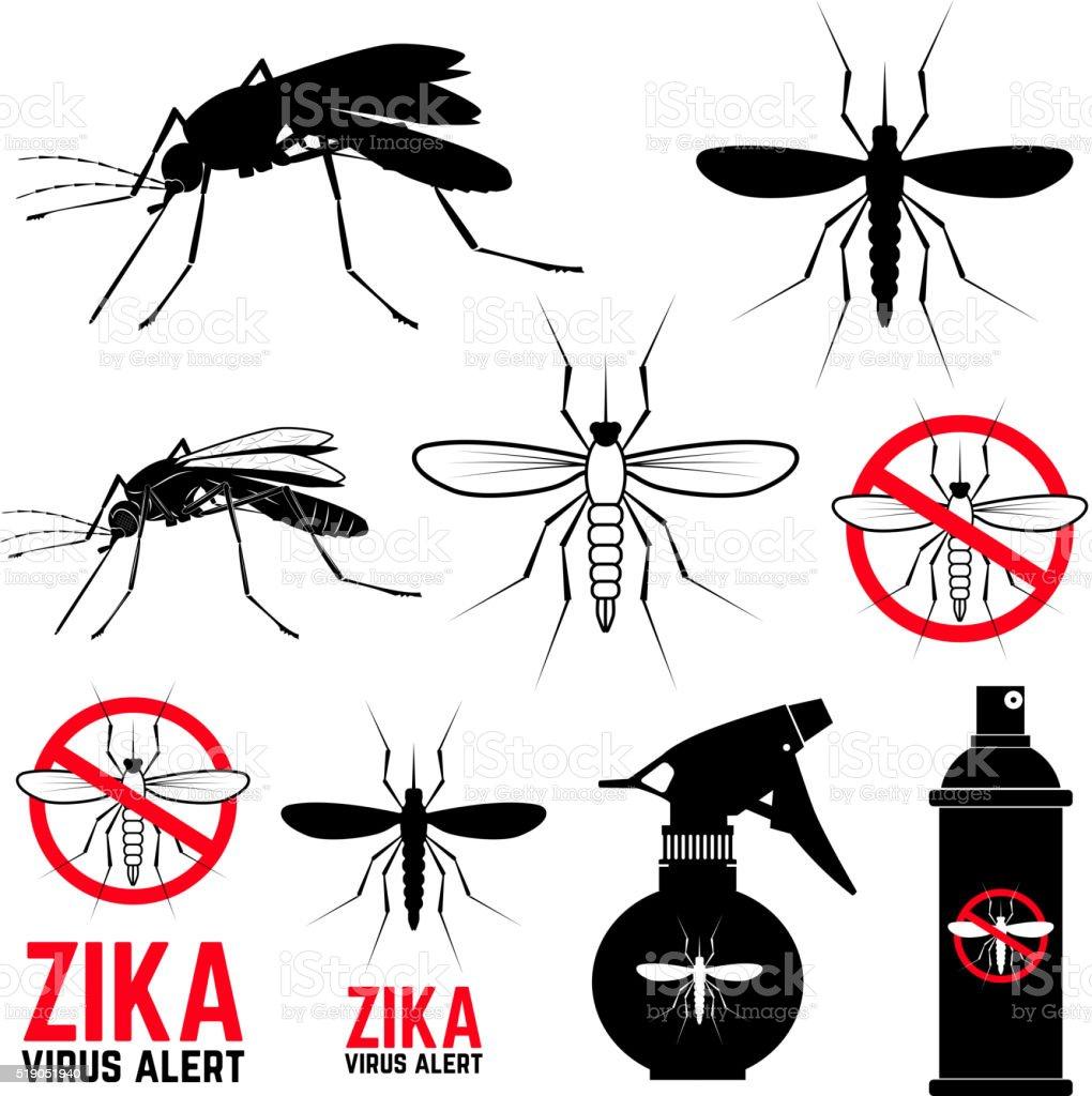 Set of mosquito icons. Zika virus alert. vector art illustration