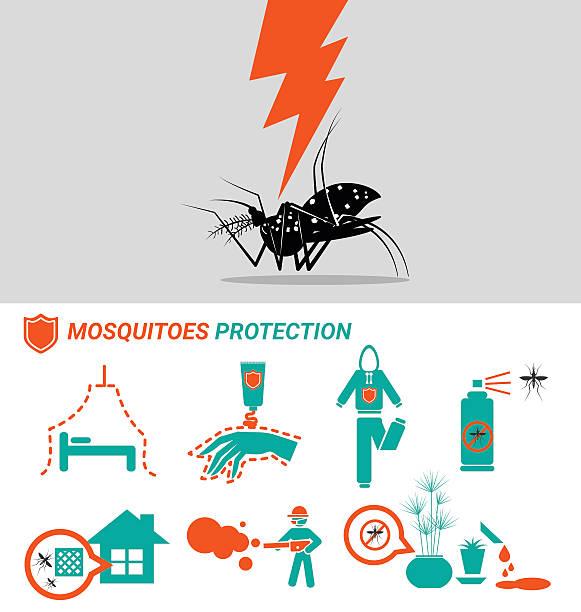 illustrazioni stock, clip art, cartoni animati e icone di tendenza di gruppo di zanzare protezione concetto - zanzare
