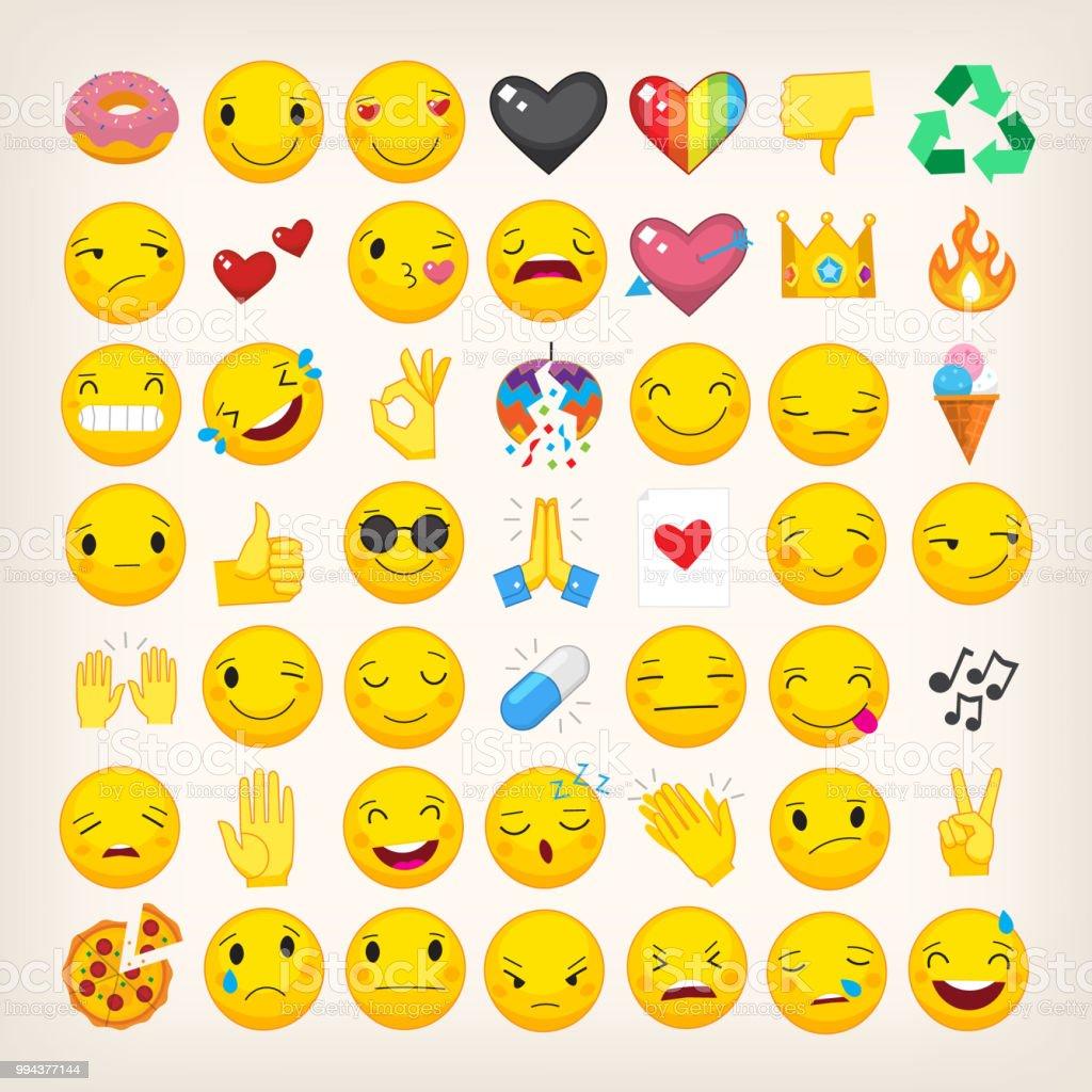 Set of most popular emoticons. Flat vector hand drawn emojis vector art illustration