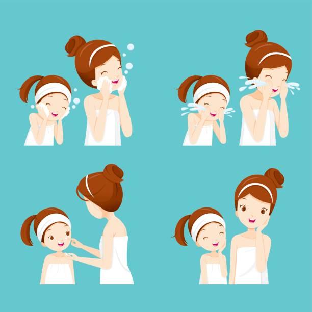 ilustrações, clipart, desenhos animados e ícones de conjunto de mãe e filha de limpeza e cuidados com o rosto dela - limpando rosto