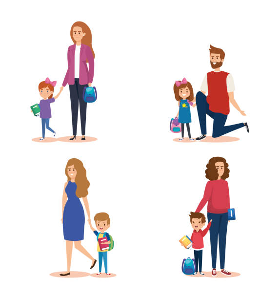 set of mothers and fathers with girls and boys students vector art illustration