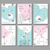 Set of  Mothers Day artistic creative cards. Low poly style orchids flowers. Vector illustration