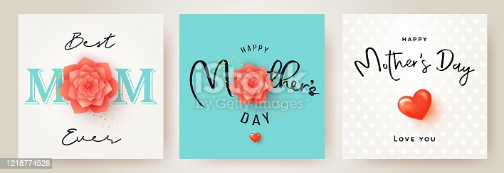 Set of Mother's Day greeting cards with paper cut flower, 3d heart and typography. Mother Day holiday illustration for greeting banner, fashion ads, poster, flyer, social media, promotion