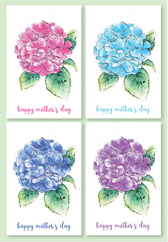 Set of Mother's Day Illustrations, Watercolor Painting of Hydrangea Flowers