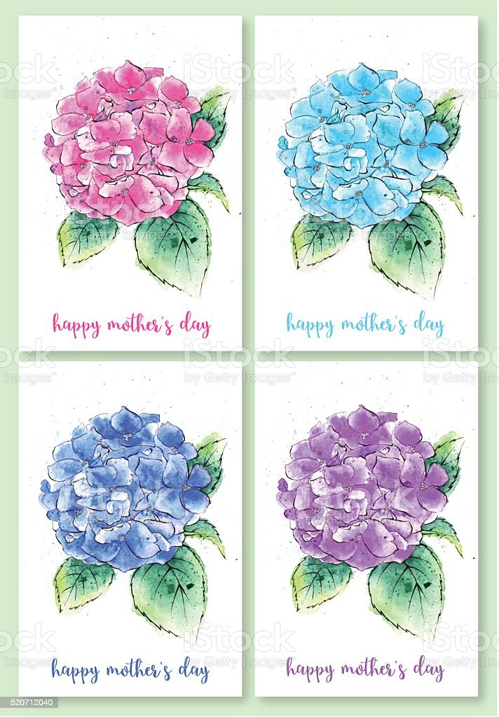 Set of Mother's Day Illustrations, Watercolor Painting of Hydrangea Flowers vector art illustration