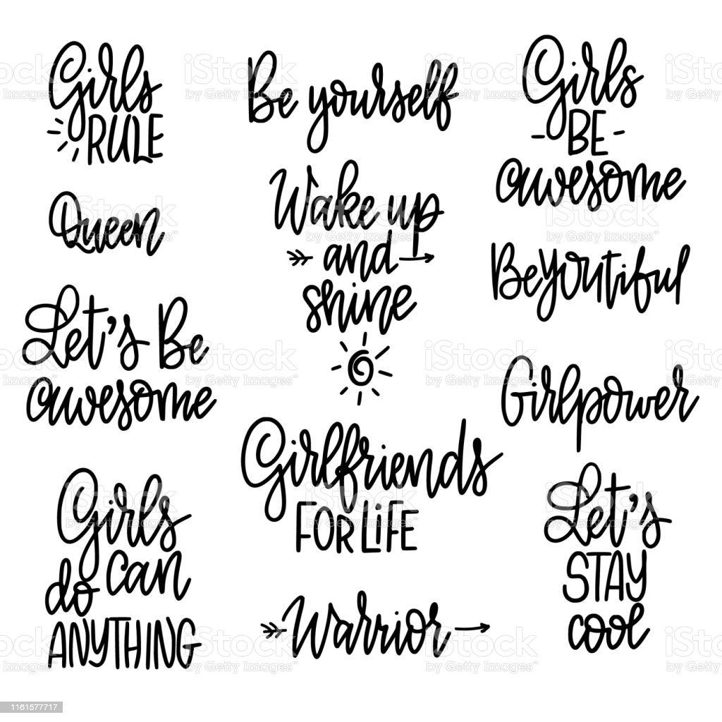 Ilustración De Conjunto De Frases Motivacionales Para Chicas