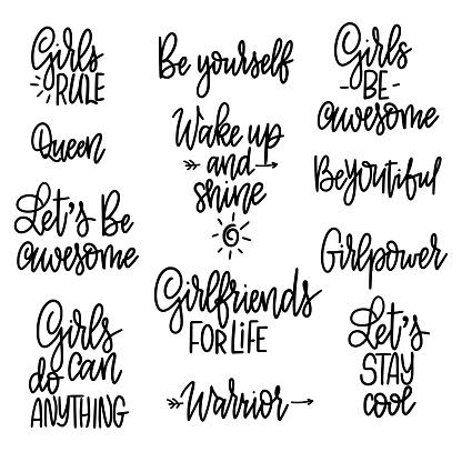 Vetores De Jogo De Frases Motivacionais Da Menina Citações