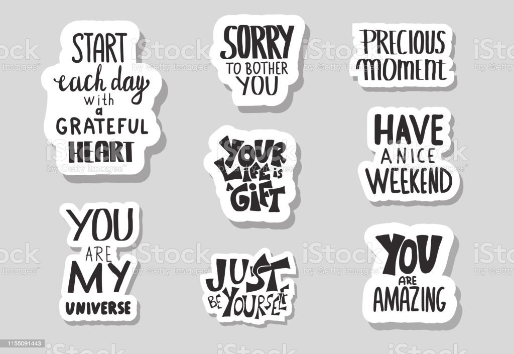 set of motivational quotes isolated vector text stock illustration