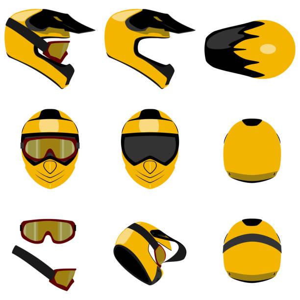 motokros kask seti farklı açılardan izole vektör illüstrasyon görüntülemek - google stock illustrations