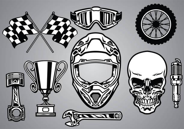 satz von motocross-rennen mit totenkopf - sportschutzhelm stock-grafiken, -clipart, -cartoons und -symbole