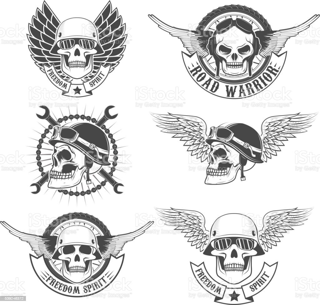Set of motorcycle club labels templates.Skulls in motorcycle vector art illustration