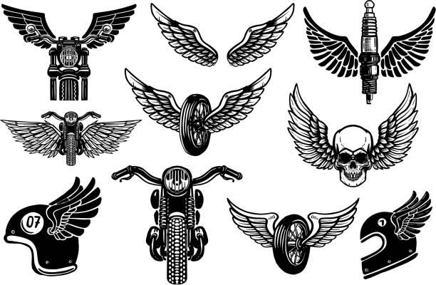 ilustrações de stock, clip art, desenhos animados e ícones de set of motorcycle design elements. for label, emblem, sign, poster, t shirt. - helmet motorbike