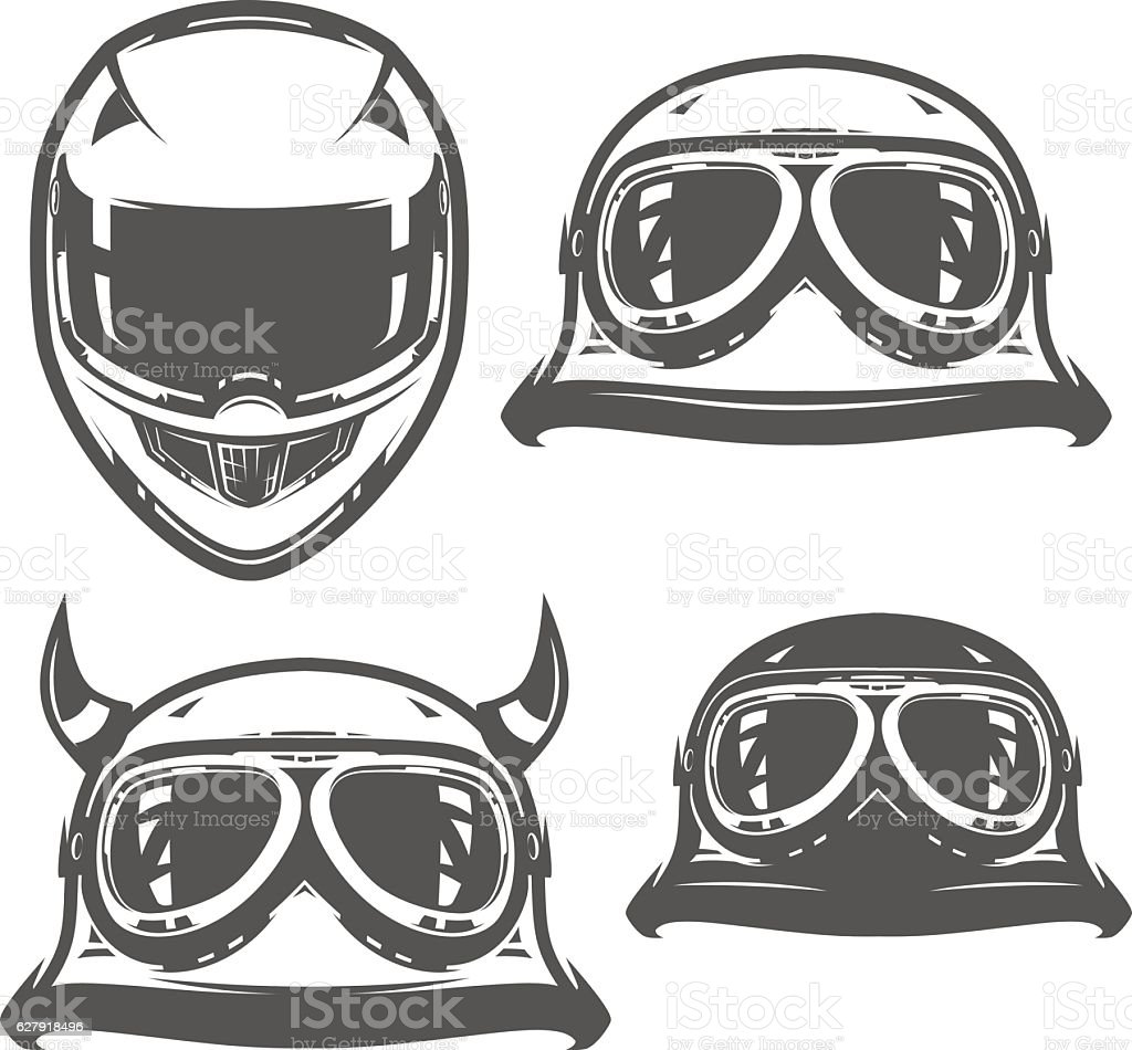 Set of motorcycle helmet vintage royalty-free set of motorcycle helmet vintage stock illustration - download image now