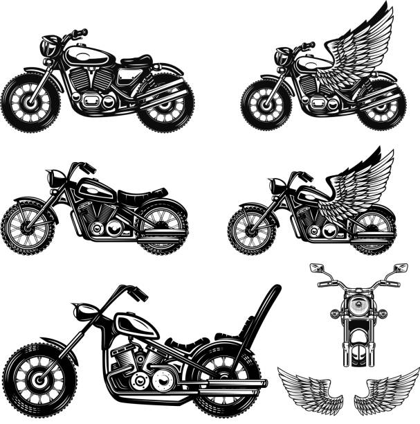 set of motorcycle illustrations . design element for label, emblem, sign, poster. - motorcycle stock illustrations, clip art, cartoons, & icons