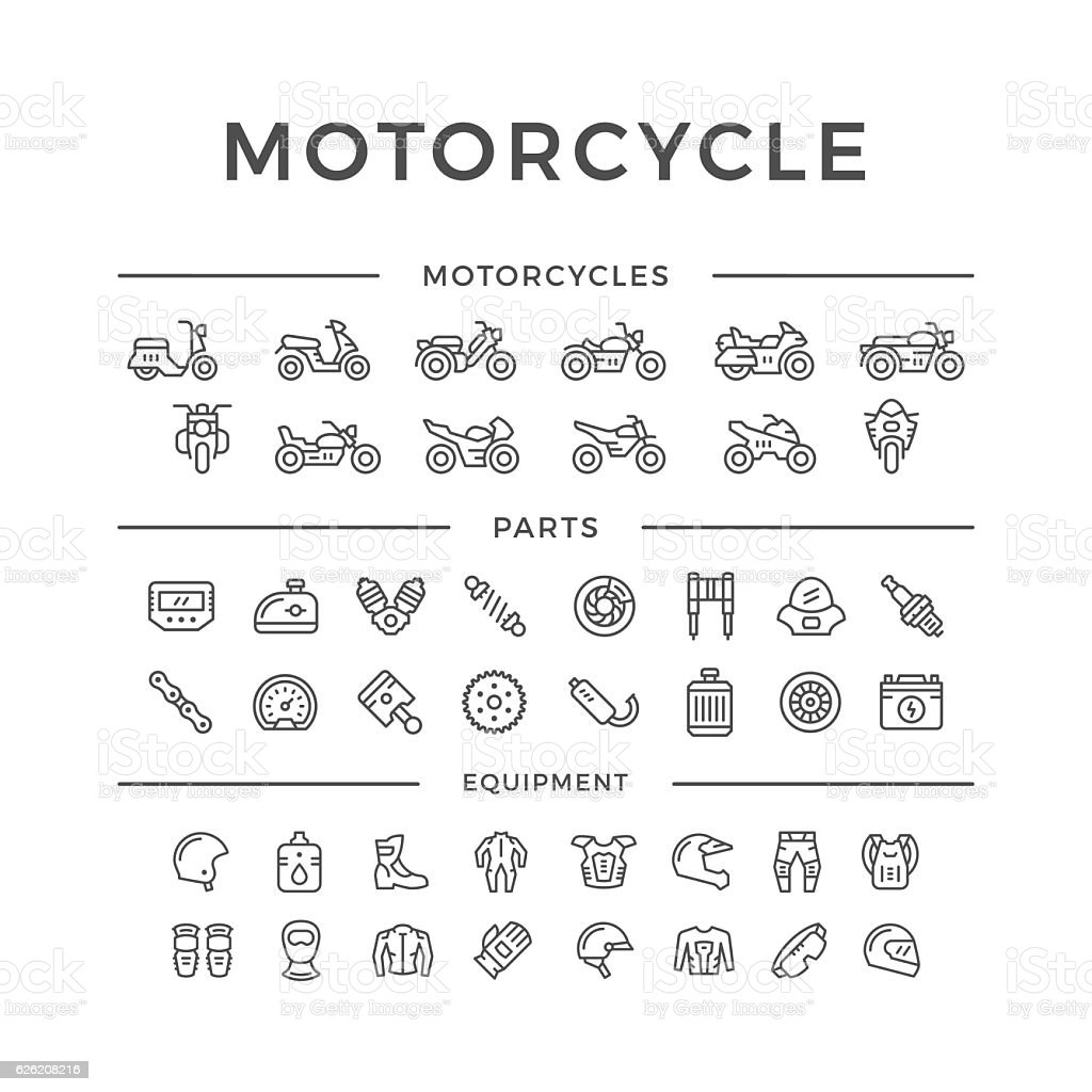 Set of motorcycle related line icons vector art illustration