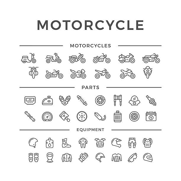 set of motorcycle related line icons - motorcycle stock illustrations, clip art, cartoons, & icons