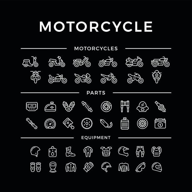 Juego de motos relacionados con los iconos de línea - ilustración de arte vectorial