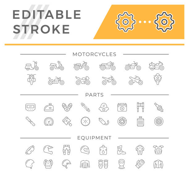 Set of motorcycle related line icons Set of motorcycle related line icons isolated on white. Editable stroke. Vector illustration machine part stock illustrations