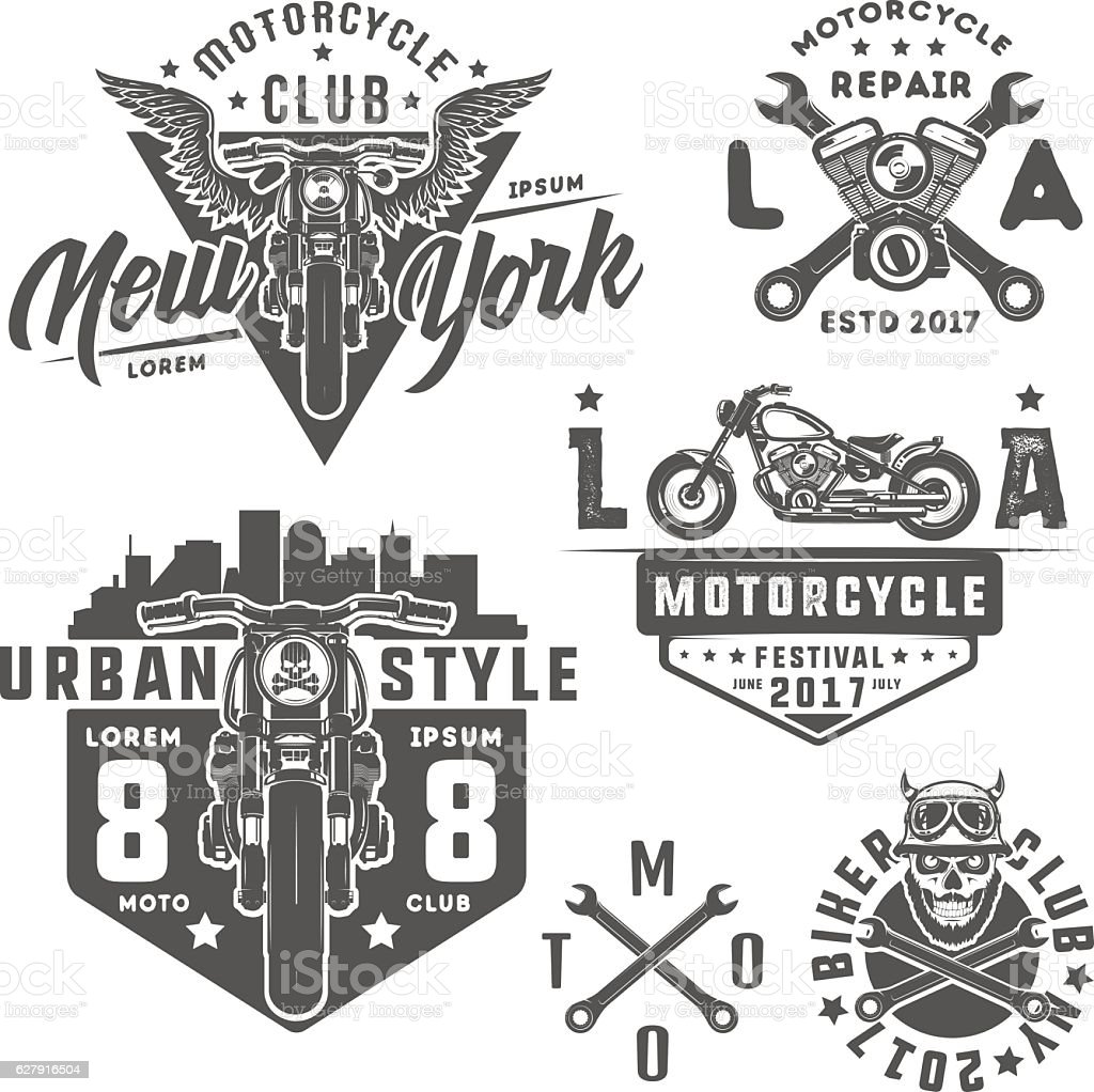 Set of motorcycle vintage style emblems, logo ,tattoo and prints. vector art illustration