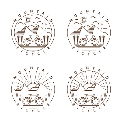 Set of mountain and bicycle monoline or line art style vector illustration