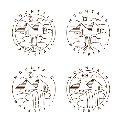Set of mountain and waterfall outdoor monoline or line art style vector illustration