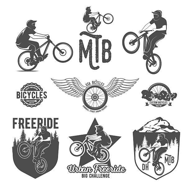 illustrazioni stock, clip art, cartoni animati e icone di tendenza di serie di badge di montagna bici - negozio sci