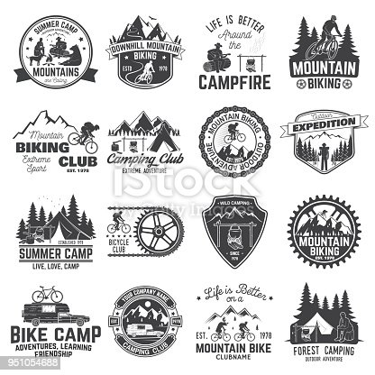 Set of Mountain biking and camping club badge. Vector. Concept for shirt, print, stamp or tee. Vintage typography design with mountain camp and mountain biker club silhouette. Extreme adventure.