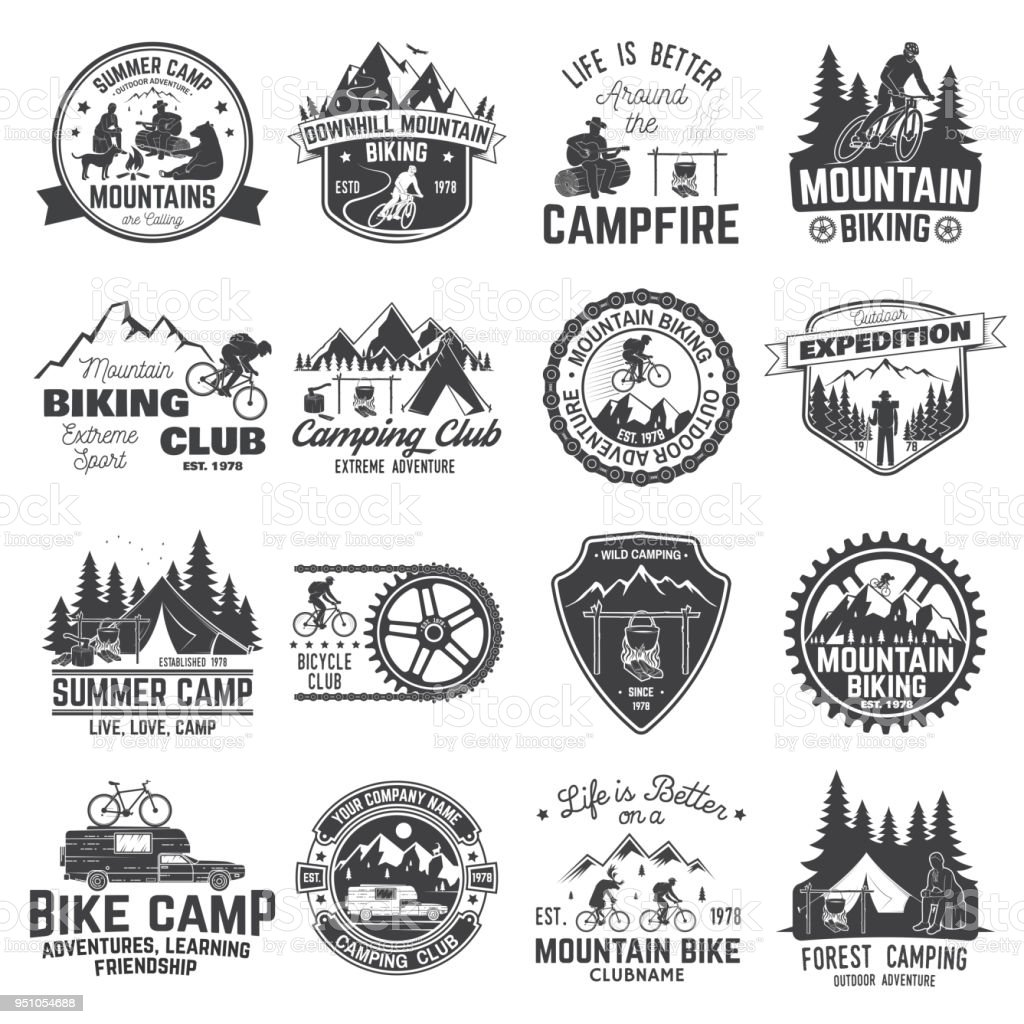 Set of Mountain biking and camping club badge. Vector vector art illustration
