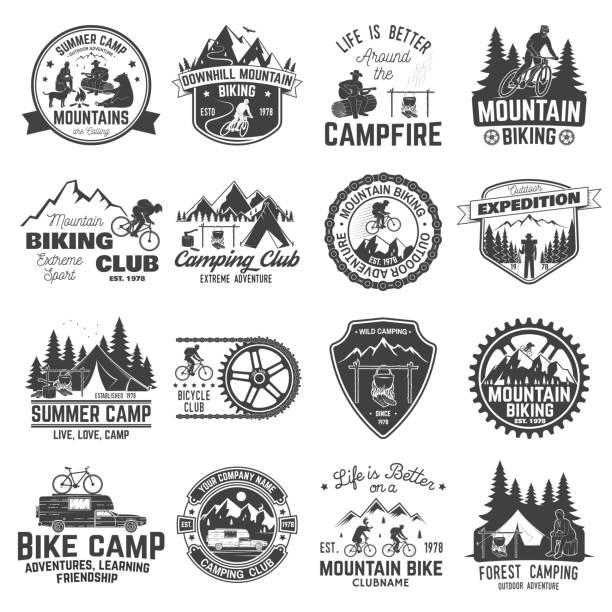ilustrações, clipart, desenhos animados e ícones de conjunto de ciclismo de montanha e acampar o distintivo do clube. vector - atividades ao ar livre