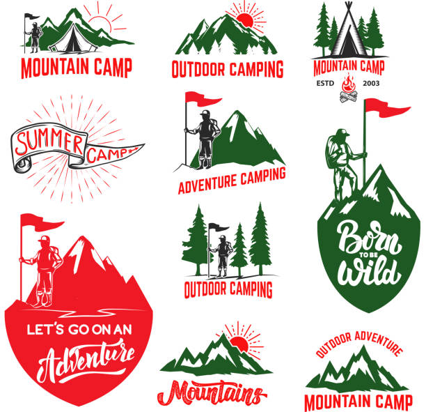 Set of mountain camping, outdoor adventure, mountains labels. Design elements for label, emblem, sign. Vector illustration vector art illustration