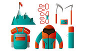 Collection set of mountain climber tools and equipment for backpacking. Mountain with a flag on top, carabiners, jacket, backpack, matches, thermos, ice axes. Isolated icons set on a white background