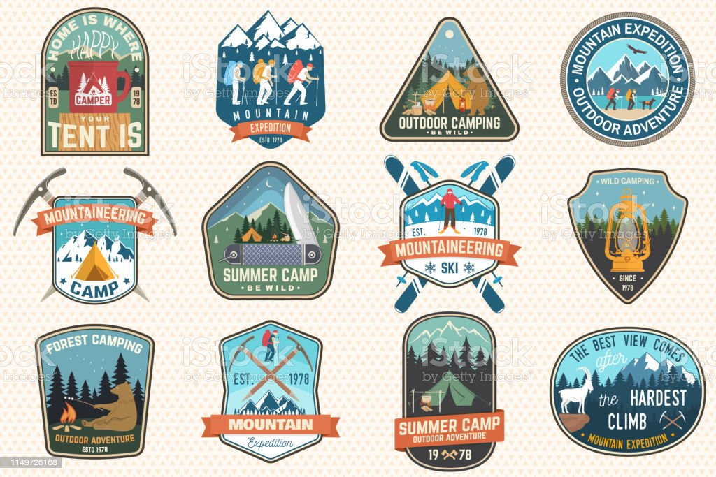 Set of mountain expedition and summer camp patches. Vector Concept...