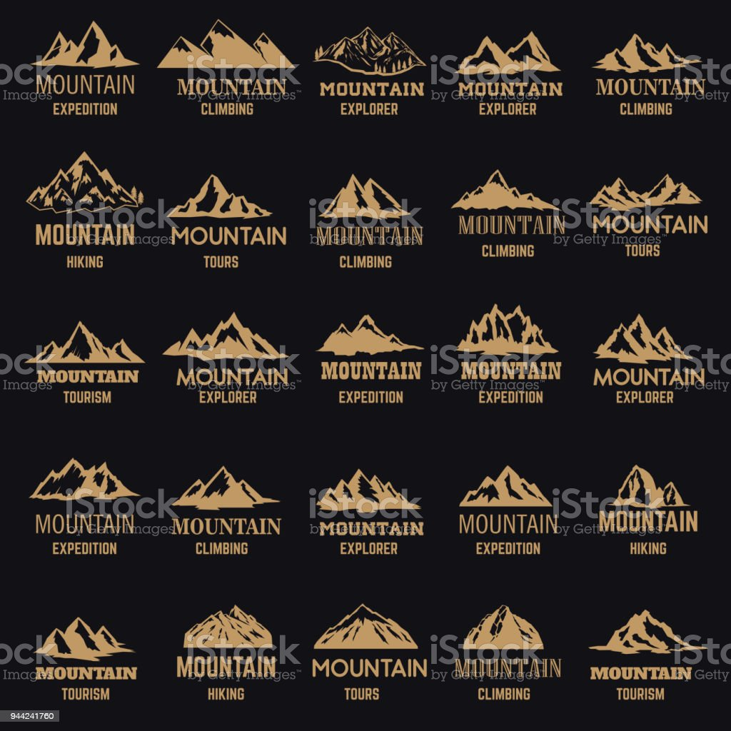 Set of mountain icons in golden style isolated on dark background. Design elements for label, emblem, sign. vector art illustration