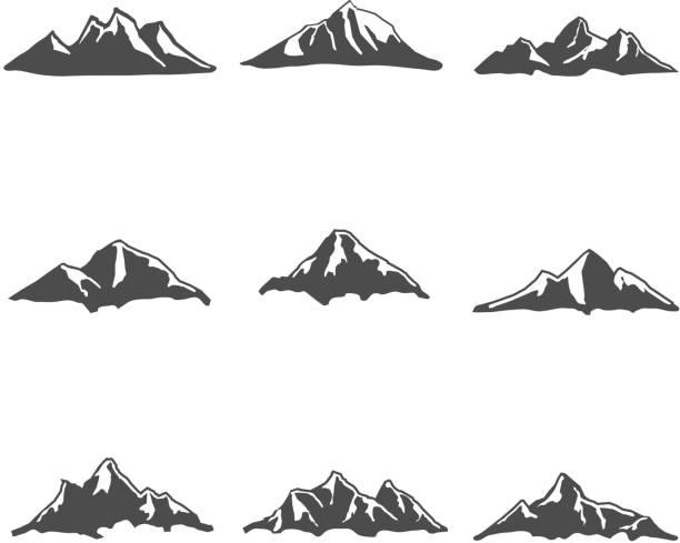 ilustraciones, imágenes clip art, dibujos animados e iconos de stock de conjunto de ilustración de vectores de iconos de montaña - mountain top