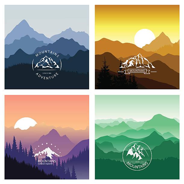 illustrazioni stock, clip art, cartoni animati e icone di tendenza di serie di paesaggi di montagna in diversi colori con emblemi. - sfondo vacanze e stagionali