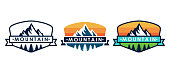 Set of Mountain logo vector illustration. Mountain badge design vector template design. Trendy Mountains logo design vector illustration template for Outdoor Adventure.