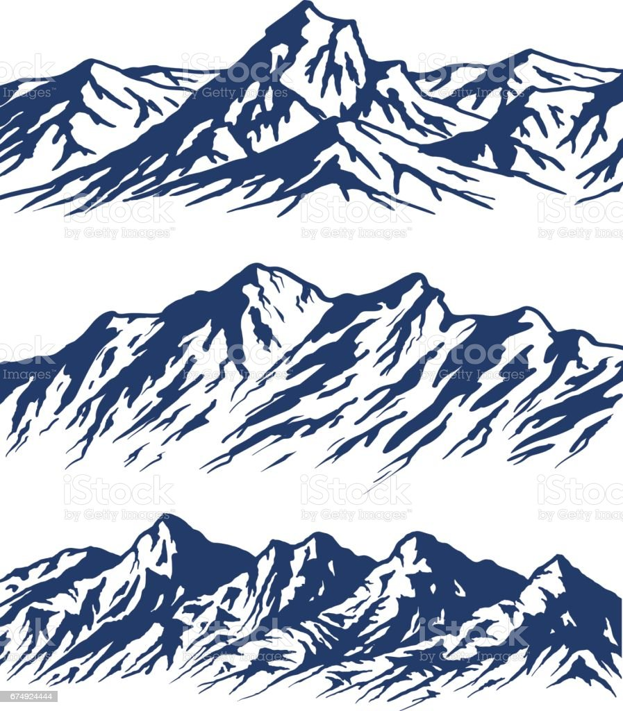 Set of mountain range silhouettes vector art illustration