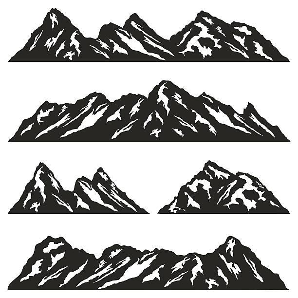 set of mountain ridges silhouettes on white background - black and white mountain stock illustrations, clip art, cartoons, & icons