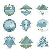 Set of mountain adventure, outdoor camp and expedition symbol, badges, patches in vector. Collection of mountain symbol template, icons, symbols.