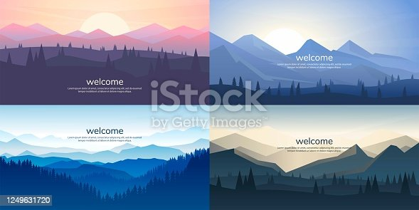 istock A set of mountain vector landscapes in a flat style. Natural wallpapers are a minimalist, polygonal concept. Sunrise, misty terrain with slopes, mountains near the forest 1249631720