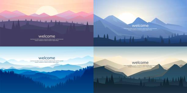zestaw górskich krajobrazów wektorowych w płaskim stylu. naturalne tapety są minimalistyczne, wielokątne koncepcji. wschód słońca, mglisty teren ze zboczami, góry w pobliżu lasu - horyzont stock illustrations