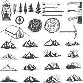 Set of mountains icons. Hiking elements. Design elements for  label, emblem, sign, menu. Vector illustration.