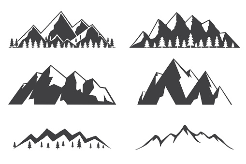 Set of mountains icons isolated on white background clipart