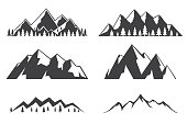 Set of mountains icons isolated on white background